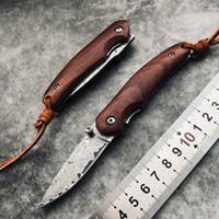 Şam Çelik Pocket Katlanır Blade ahşap Kol Taktik Kamp Açık Taşınabilir Survival Bıçak EDC Aracı Güzel Hediye değer toplayın