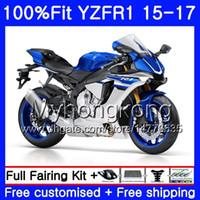 블루 은색 재고 주입 바디 YAMAHA 용 YZF R1 1000 YZF-R1 15 16 17 243HM.19 YZF-1000 YZF R 1 YZF1000 YZFR1 2015 2016 2017 페어링 키트