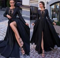 Schwarz Sexy Satin Abendkleider 2019 Lange Ärmel Durch Spitze Hohe Split Formale Party Abendkleider roben de soirée BC2384