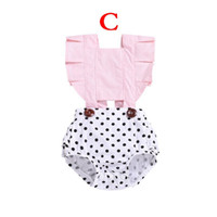 Newborn Romper Infant Baby Girls Fly Sleeve Wave Point Flowe...