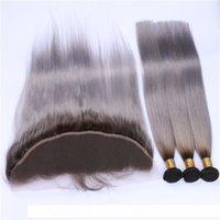 D escuro Enraizado # 1b Grey Ombre 13x4 Lace frontal Clsoure Com 3 Ofertas Bundle Hetero Ombre cinza prata da Malásia Cabelo Weaves With Full F