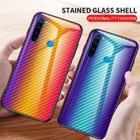 Градиент углеродного волокна закаленное стекло чехол для Xiaomi Редми Примечание 8Т Примечание 8 Про СН СН СН 9 про Редми Примечание 7 8А 8 ми 9 ЮВ