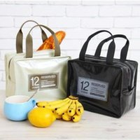 New Office lunch bag Travel portable patent leather PU picni...