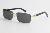 2020 НОВЫЕ Rimless Black Дощатые Солнцезащитные очки 8200757 Мода высокого качества Солнцезащитные очки прозрачные кадры с Clear Большие площади Солнцезащитные очки