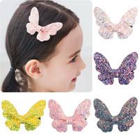 Clips de los bebés lindos de la mariposa del brillo de las horquillas de pelo brillante de las lentejuelas mariposa Barrettes niños hijos de la princesa de la horquilla de regalo de cumpleaños