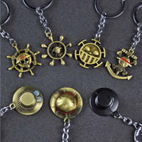 Hayranları Parti Hediye için 10pcs / Lot Moda Takı Anahtarlık Tek Parça Maymun D .Luffy Hasır Şapka Dümen Kafatası kolye Anahtarlıklar