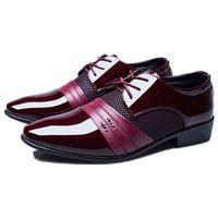 클래식 망 드레스 신발 럭셔리 남성 비즈니스 Oxfords 블랙 브라운 와인 지적 발가락 정식 가죽 신발 남자 빅 사이즈 48