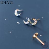 WANTME alta calidad multicolor Mini Pendientes Studs linda luna de la Mujer 100% genuino esterlina accesorios de joyería de plata