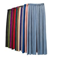 Candy Color Pleated Cool Wide Leg Trousers Female Summer Hig...