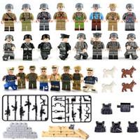 24 шт. Лот WW2 армия морских военно-морских солдат офицер мини-военные действия фигуры строительные блоки игрушки с оружием
