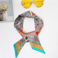 Оптом шелковый шарф мода мужчины и женщины ленты для волос напечатанные лук шелковый шарф мода сумка декоративная лента 90 * 5см 36528