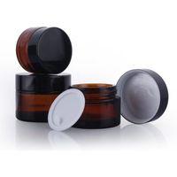 5g 10g 20g 30g 100g Ambre Brown Visage en verre Crème Crème rechargeable Rond Bouteille Cosmétique Maquillage de maquillage Conteneur
