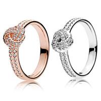 925 Sterlingsilber Funkelnde Liebe-Knoten-Ring-Satz Original-Box für Pandora Korn Frauen Hochzeit CZ-Diamant-18K Rose Gold Ring