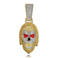hip hop Journey to the West colliers pendentif bouddhisme diamants de luxe culture chinoise singe roi pendentifs collier en plaqué or 18 carats