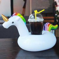 Bebida inflable Unicornio Portavasos Fiesta flotante Bebidas Barco Soporte para teléfono Niños Piscina Juguetes Suministros de fiesta