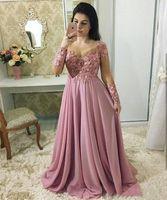 Plus storlek en linje chiffong långärmad klänningar kväll slitage zuhair murad kvällsklänningar ärmar vestidos de fiesta prom klä lång