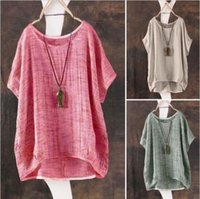 Women Summer T-Shirt Casual Plain Loose Blouse Shirt Batwing Asymmetrical Tops