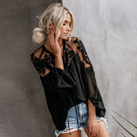 2019 New Wome V-Ausschnitt Stickerei Blumen Tops Fashion Damen-Sommer-beiläufige Bluse lose Shirts