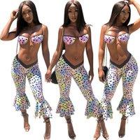 Sexy Ruffer Женщины Тощий костюмы Лето полька 2pcs повседневные костюмы Пляж Мода Printed Одежда