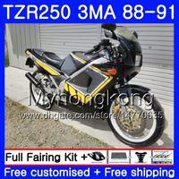 طقم لياماها TZR250RR TZR-250 TZR 250 88 89 90 91 جسم أصفر جديد أسود 244HM.29 TZR250 RS RR YPVS 3MA TZR250 1988 1989 1990 1991 Fairing