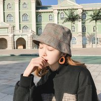 Japonés salvaje ocasional sombrero de pescador a cuadros coreano protector  solar sol sombrero femenino marea plegable bafc9380e2f