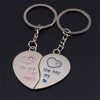 Gebroken hart sleutelhanger sleutelheren accessoires mode sleutelhangers ringen houder voor minnaar paren verjaardag geschenken metalen gespleten sieraden voor auto's