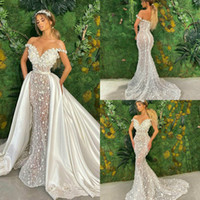 Luxe sirène robes de mariée avec jupe détachable dentelle florale 3D Appliqued Pays Robe de mariée en satin Custom Made Vestidos De Novia