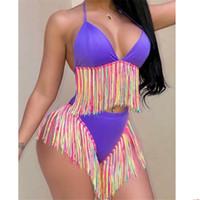 Bikinis baño mujeres de cintura alta del tirante de espagueti del traje de baño de la borla con flecos de dos piezas trajes retro traje de baño más del tamaño del traje de baño