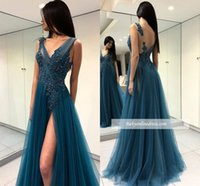 2019 New Appliqued Prom Dresses Dresses Lungo V Abito da sera Deep Deep Neck Lace Beaded A -line Formale Party Pageant Cocktail Gown Made