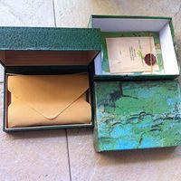 أفضل جودة الفاخرة الظلام الأخضر الفاخرة مربع هدية حالة هدية ل rolex الساعات بطاقة كتيب بطاقة وورقات باللغة الإنجليزية صناديق الساعات السويسرية