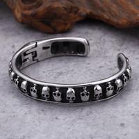 braccialetto di scheletro dei monili del polsino del cranio del polsino del polsino del braccialetto del polsino dell'acciaio inossidabile dei ragazzi dell'annata dell'annata 316L libero