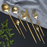 Stainless Steel Tableware Gold Knife Meal Spoon Fork Chopsticks Coffee Spoon Flatware Exquisite Western Dinner Dessert Cutleries DBC VT1000