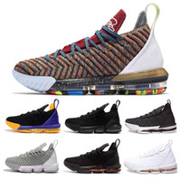 more photos c5e65 44bb4 Lebrons 16 Basketball-Schuhe Kings Off Top Qualität Weiß Man Sneakers Lila  Gelb Lakers Basketball