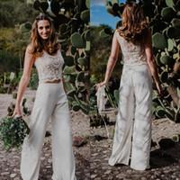 2020 neue zwei stücke Böhmische Hose Anzug Prom Kleider Perlen Perlen See-Through Country Style Beach Abendkleider