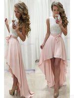 Roze wit hoog lowecoming prom jurken 2019 juweel hals kanten chiffon eenvoudige junior meisjes gelegenheid prom feestjurk goedkoop