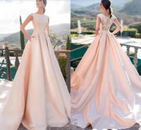 블러쉬 핑크 섹시한 새틴 Pockets 캡 슬리브 스윕 기차 레이스 웨딩 드레스 신부 가운 긴 파티 드레스