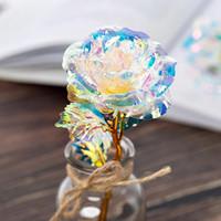 Artificial Goldfolie überzogene Rose Blumen LED-Beleuchtung Blumen mit Box Laser für Urlaub Valentine Hochzeit kreativen Geschenk HHA1132