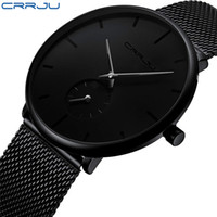 CRRJU completa Aço Assistir Homens Casual Luxury famoso relógio Vestido Moda relógios de quartzo Unisex Ultrafino Relógio de pulso erkek kol saati