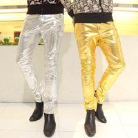 الذهب الفضة دراجة نارية فو السراويل الجلدية رجل قدم السراويل موضة سراويل الرجال بو يعكس شخصية لامعة pantalon أوم