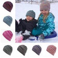 어린이 크로 셰 비니 모자 소년 소녀 니트 모자 보닛 어린이 겨울 따뜻한 야외 스키 모자 파티 TTA2130-2 캡