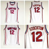 NCAA 12 John Stockton Jersey Männer High School Basketball Gonzaga Bulldogs Trikots Günstige Universität für Sport-Fans Top-Qualität