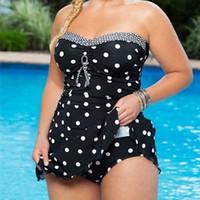 Женщины цельный мягкий горошек Skirtish купальник 2шт купальники купальный костюм купальники пляжная одежда плюс размер
