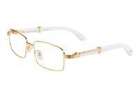 الجديدة النظارات الشمسية أزياء وصول للقرن الجاموس الرجال البيض النظارات البصرية الخيزران إطارات خشبية مع نظارات عدسة واضحة هلالية مع مربع