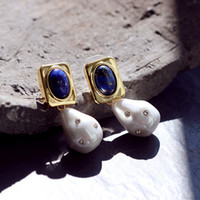 New arrival Top quality brass drop earring with lapis stone ...