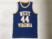 NCAA West Virginia Mountaineers # 44 Jerry West College Maglie Retro liceo Basket blu cucito Vintage Jersey S-XXL trasporto di goccia