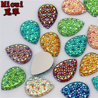 Micui 100PCS 13*18MM Newest AB Color Drop Resin Rhinestones Crystal Stones flatback Beads Scrapbooking crafts Jewelry Accessories ZZ31