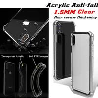 1.5mm Transparent Acrylic Back Cover för iPhone XS Max XR 7 Plus Samsung S8 Not 9 J7 Prime Clear Gel TPU Väska