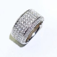 Sparkling Luxury 925 White Jewelry Gem Sterling Diamond Pave For Silver CZ 18K Topaz Gold Plated Wedding Band Ring Infinite Men G Kiduu