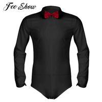 Feeshow Erkek Uzun Kollu Fermuar Romper Smokin Gömlek Camisas Hombre Katı Renk Yumuşak Pürüzsüz Latin Modern Dans Gömlek ile Papyon