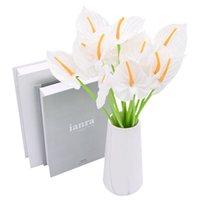 Flores decorativas grinaldas 10 pcs pu aritificial buquê calla lily bando diy casa decoração casamento mesa falsificada flor decoração de queda